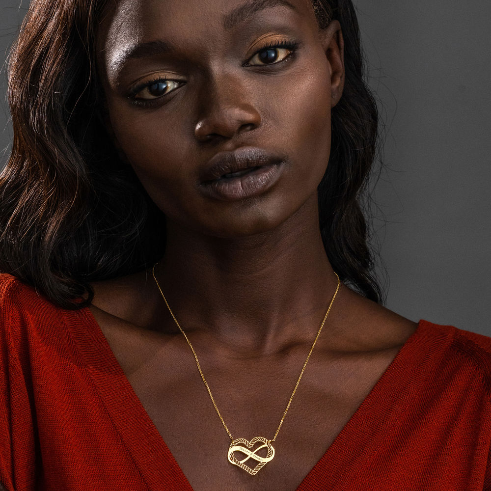 Engraved Heart Infinity Necklace in Gold Vermeil - 1