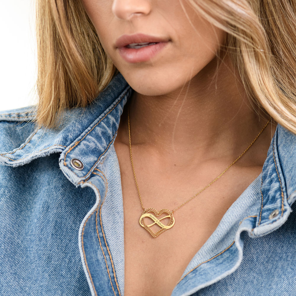 Engraved Heart Infinity Necklace in Gold Vermeil - 3