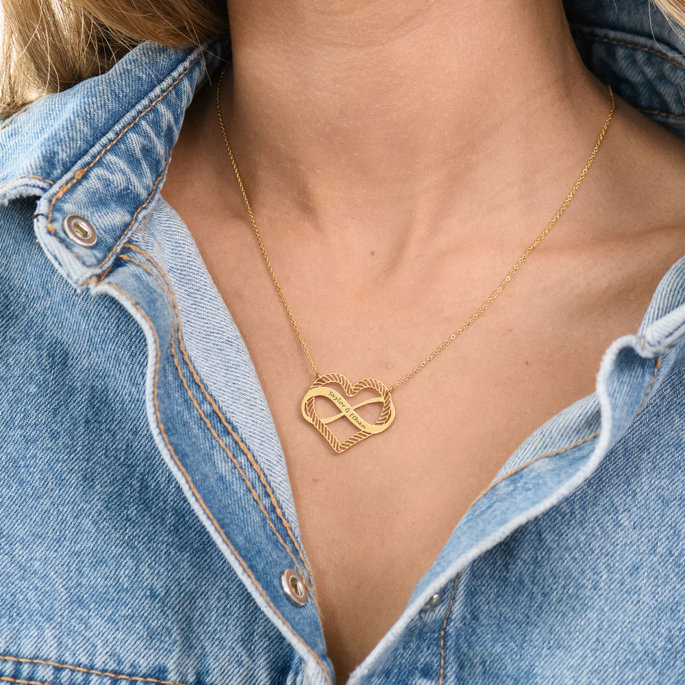 Engraved Heart Infinity Necklace in Gold Vermeil - 4