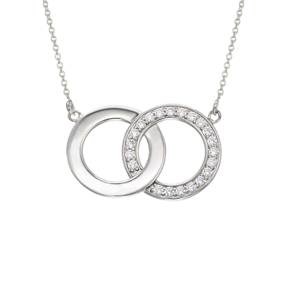 Zirconia Circles Necklace with Giftbox & Prewritten Gift Note Package in Sterling Silver - 1