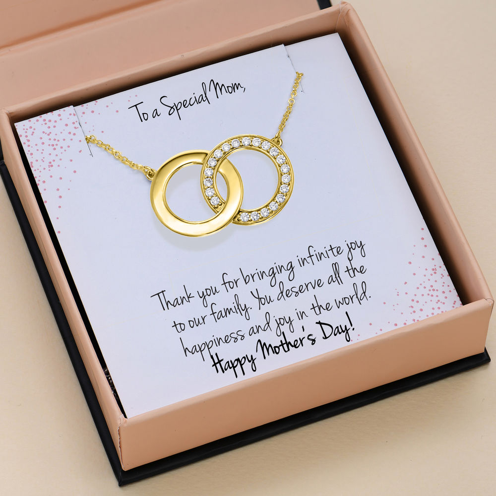Zirconia Circles Necklace with Giftbox & Prewritten Gift Note Package in Gold Vermeil