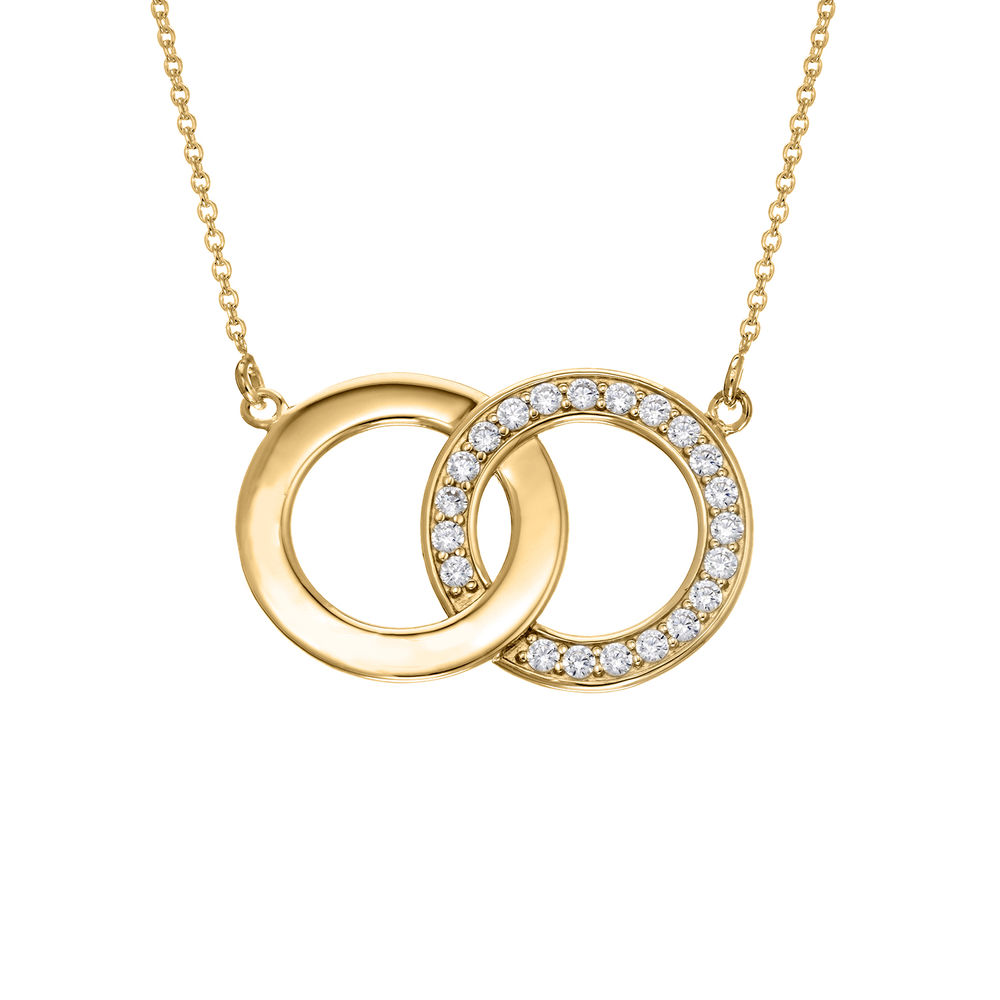 Zirconia Circles Necklace with Giftbox & Prewritten Gift Note Package in Gold Vermeil - 1