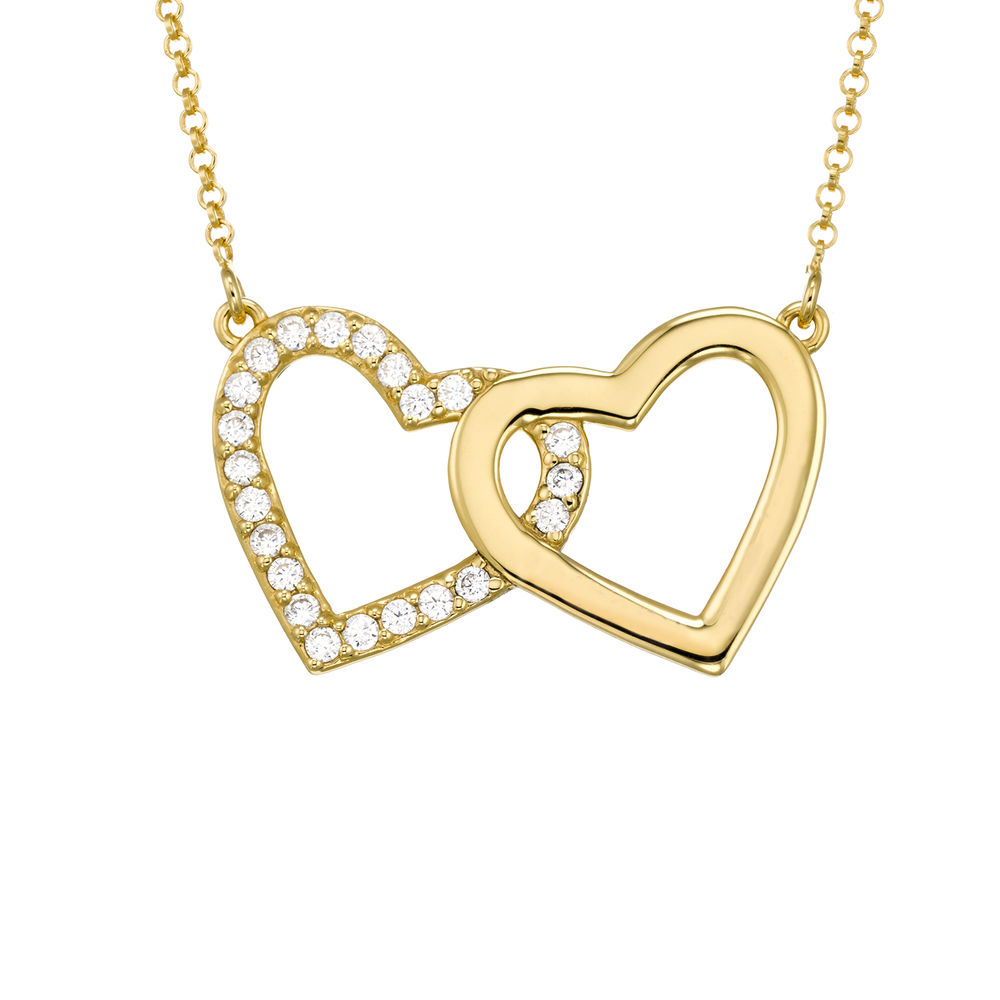 Zirconia Heart Necklace with Giftbox & Prewritten Gift Note Package in Gold Plating - 1