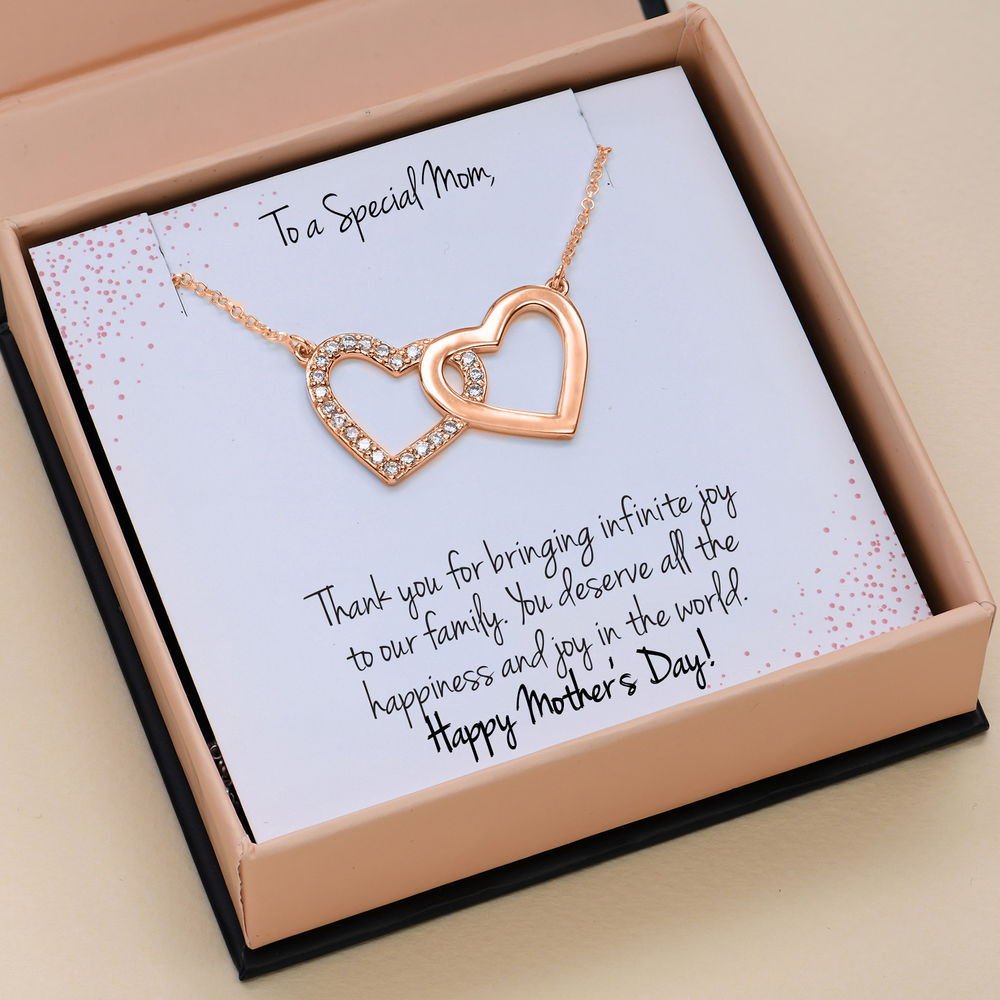 Zirconia Heart Necklace with Giftbox & Prewritten Gift Note Package in Rose Gold Plating