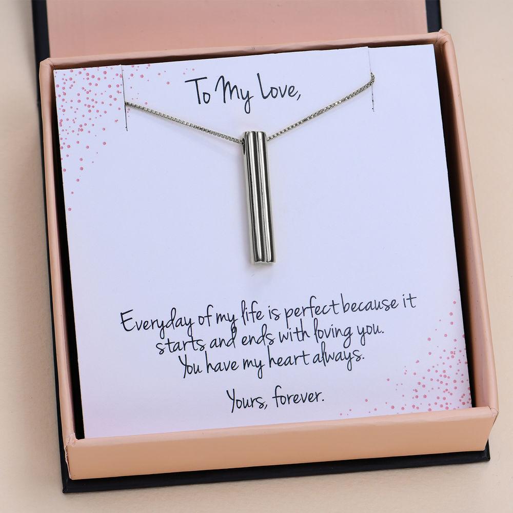 """Heart shape 3D Bar in Sterling Silver with Prewritten Gift Note """