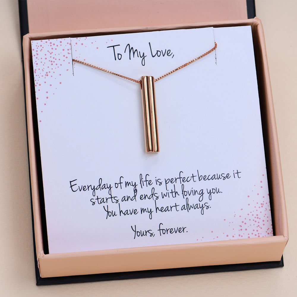 Heart shape 3D Bar in Rose Gold Plated with Prewritten Gift Note