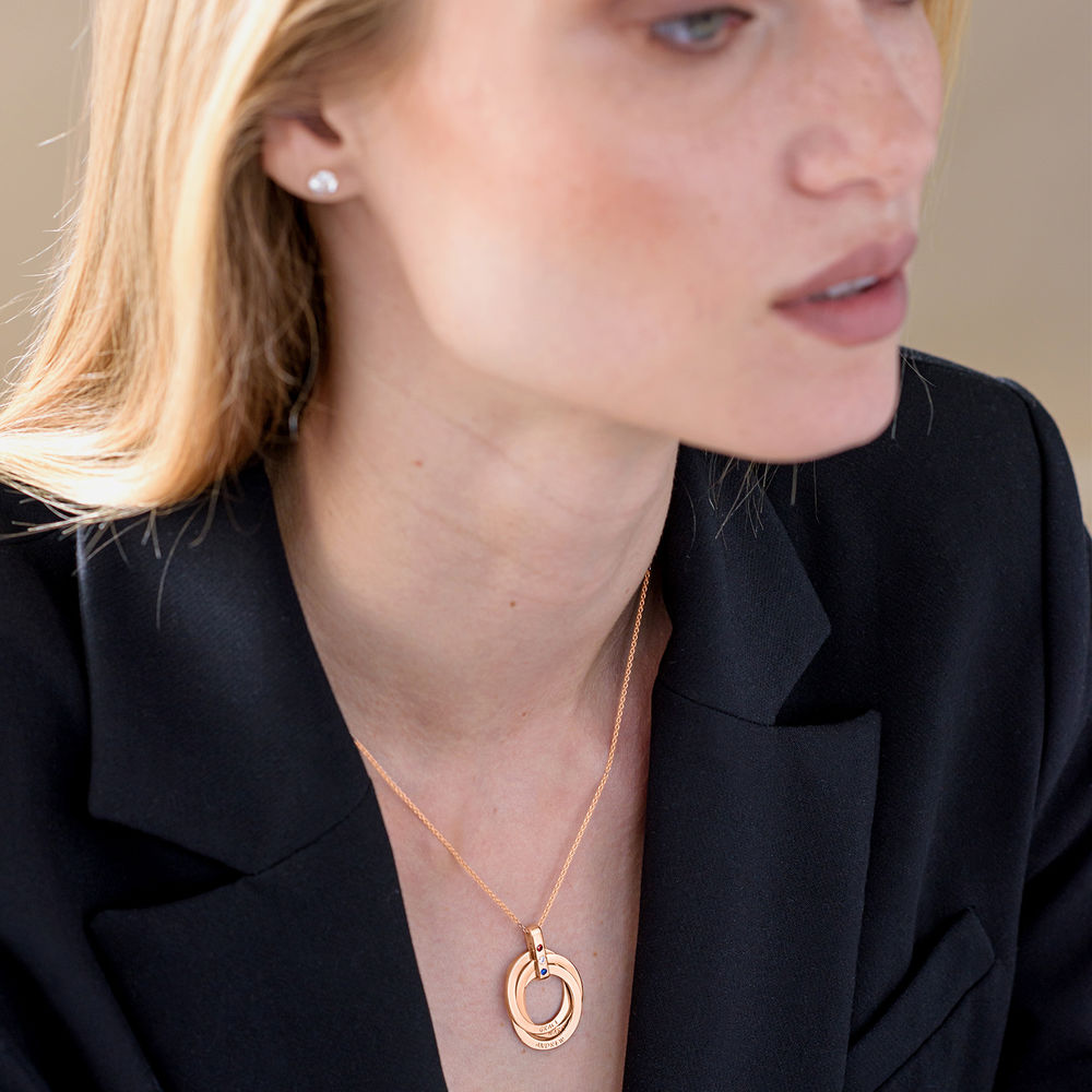 Russian Ring Necklace with Birthstones in Rose Gold Plating - 4