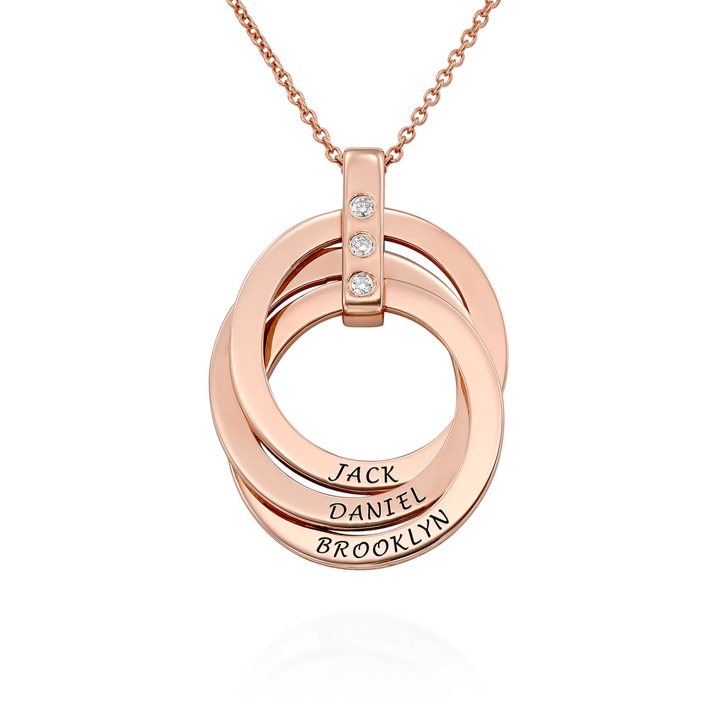 Russian Ring Necklace with Diamonds in Rose Gold Plating