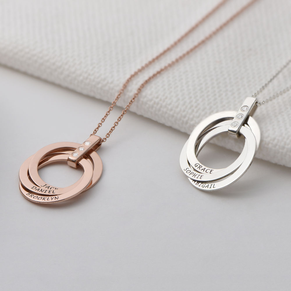 Russian Ring Necklace with Diamonds in Rose Gold Plating - 2