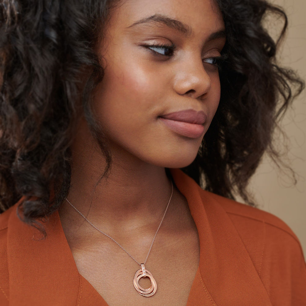 Russian Ring Necklace with Diamonds in Rose Gold Plating - 3
