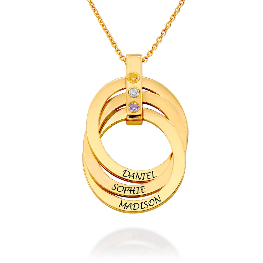 Russian Ring Necklace with Birthstones in Gold Vermeil