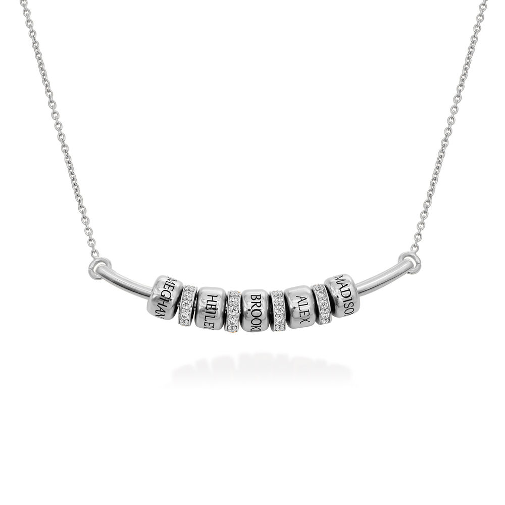Smile Bar Necklace with Custom Beads in Sterling Silver