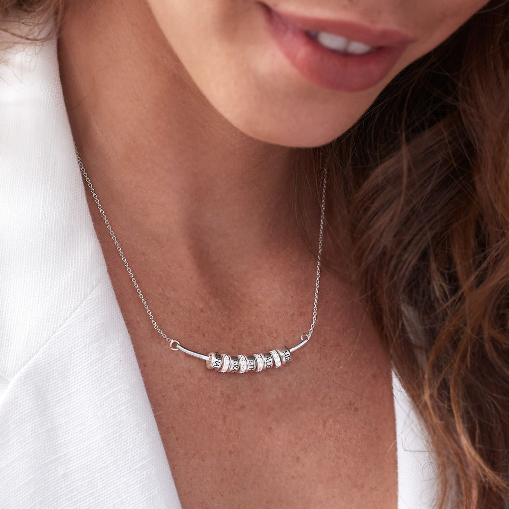 Smile Bar Necklace with Custom Beads in Sterling Silver - 5