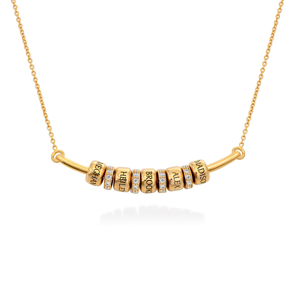 Smile Bar Necklace with Custom Beads in Gold Plating