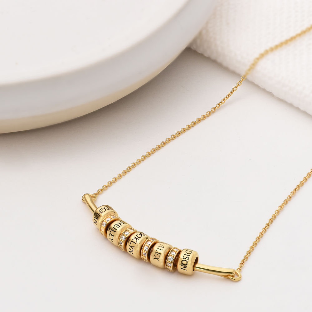 Smile Bar Necklace with Custom Beads in Gold Plating - 1