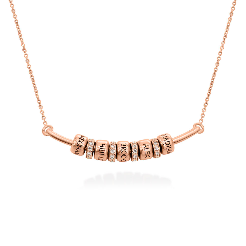 Smile Bar Necklace with Custom Beads in Rose Gold Plating