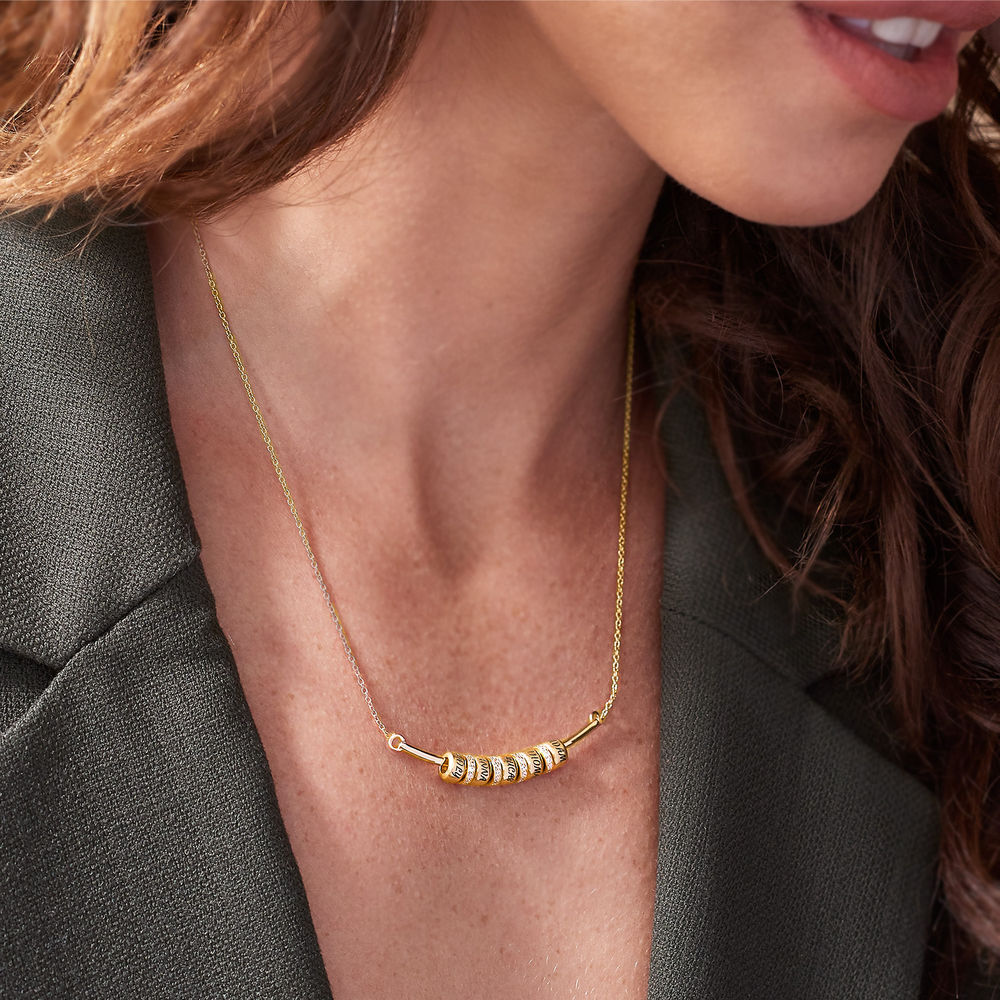 Smile Bar Necklace with Custom Beads in Gold Vermeil - 3