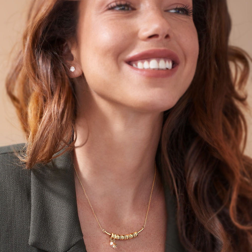 North Star Smile Bar Necklace in Gold Plating - 2