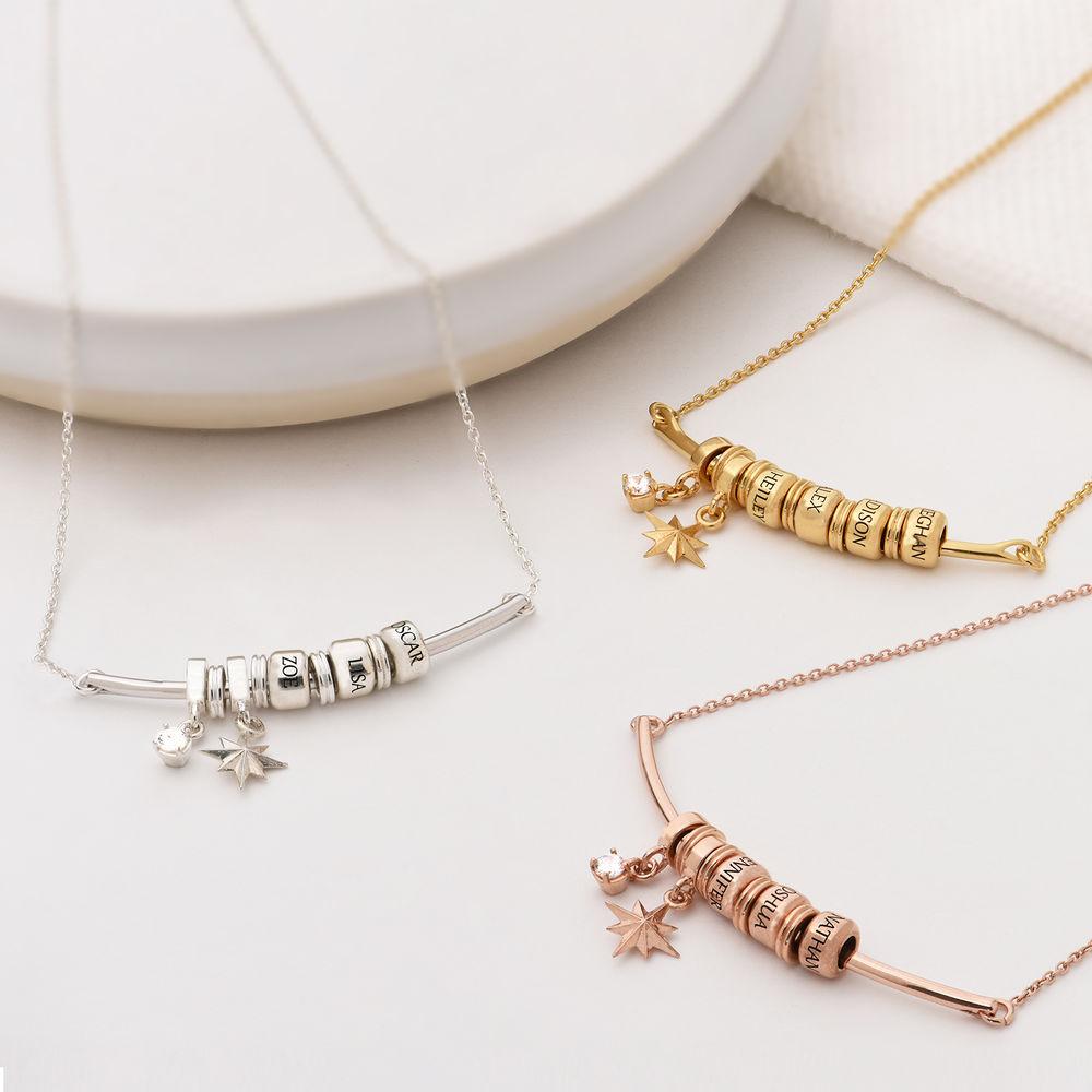 North Star Smile Bar Necklace in Rose Gold Plating - 1