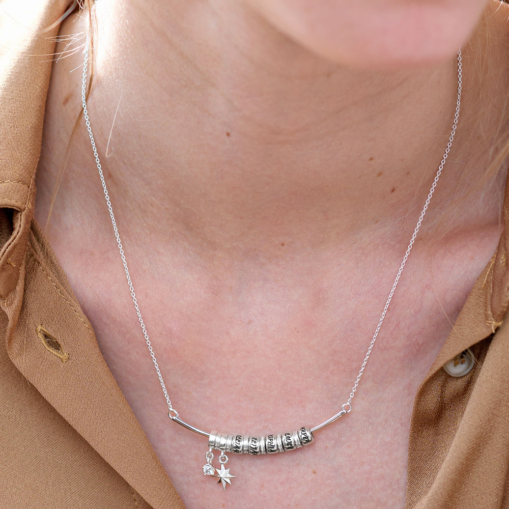 North Star Smile Bar Necklace with Diamond in Sterling Silver - 3