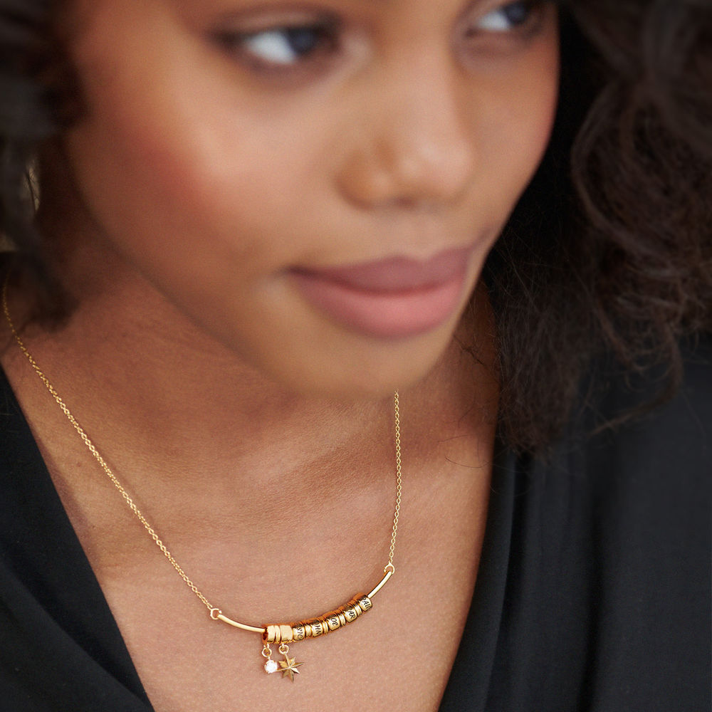 North Star Smile Bar Necklace with Diamond in Gold Plating - 2