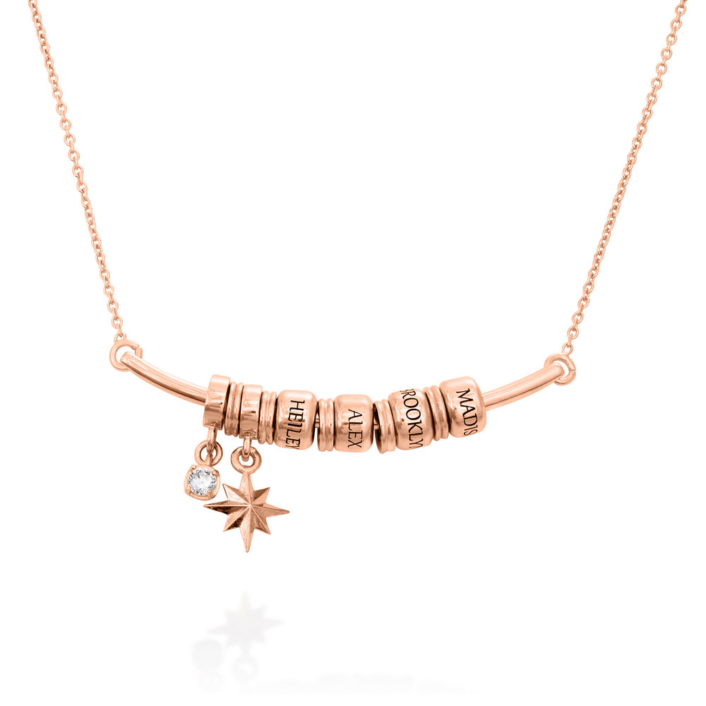 North Star Smile Bar Necklace with Diamond in Rose Gold Plating