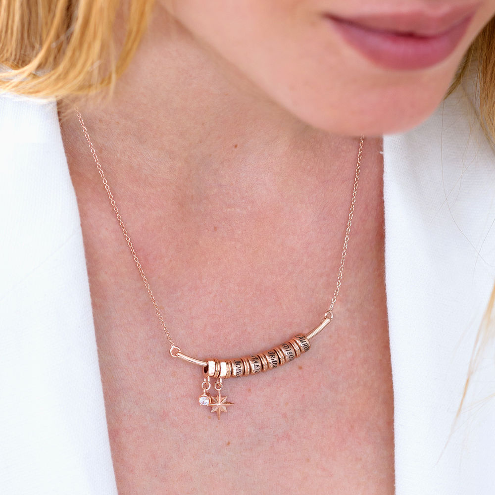 North Star Smile Bar Necklace with Diamond in Rose Gold Plating - 3