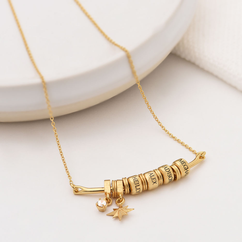 North Star Smile Bar Necklace in Gold Vermeil - 1