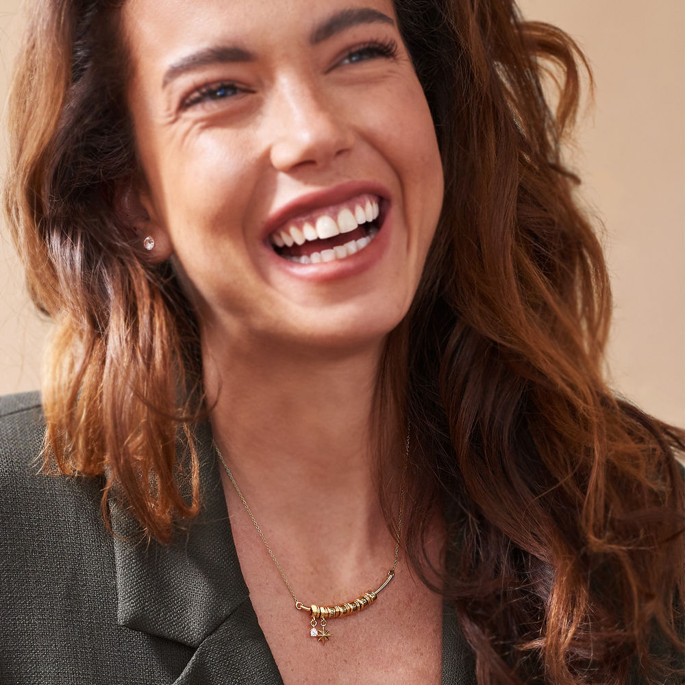 North Star Smile Bar Necklace in Gold Vermeil - 2