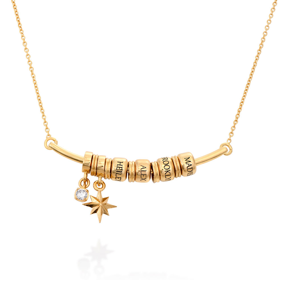 North Star Smile Bar Necklace with Diamond in Gold Vermeil
