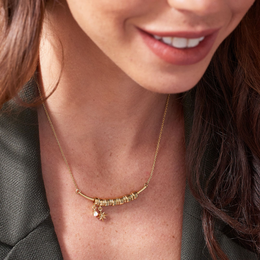 North Star Smile Bar Necklace with Diamond in Gold Vermeil - 3
