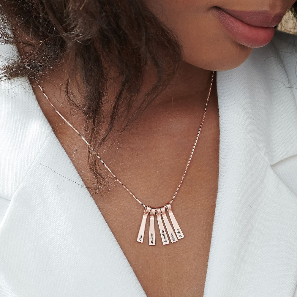 Xylophone Bar Necklace with Kids Names in Rose Gold Plating - 4