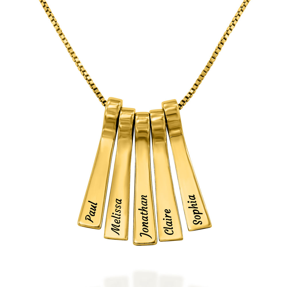 Xylophone Bar Necklace with Kids Names in Gold Vermeil