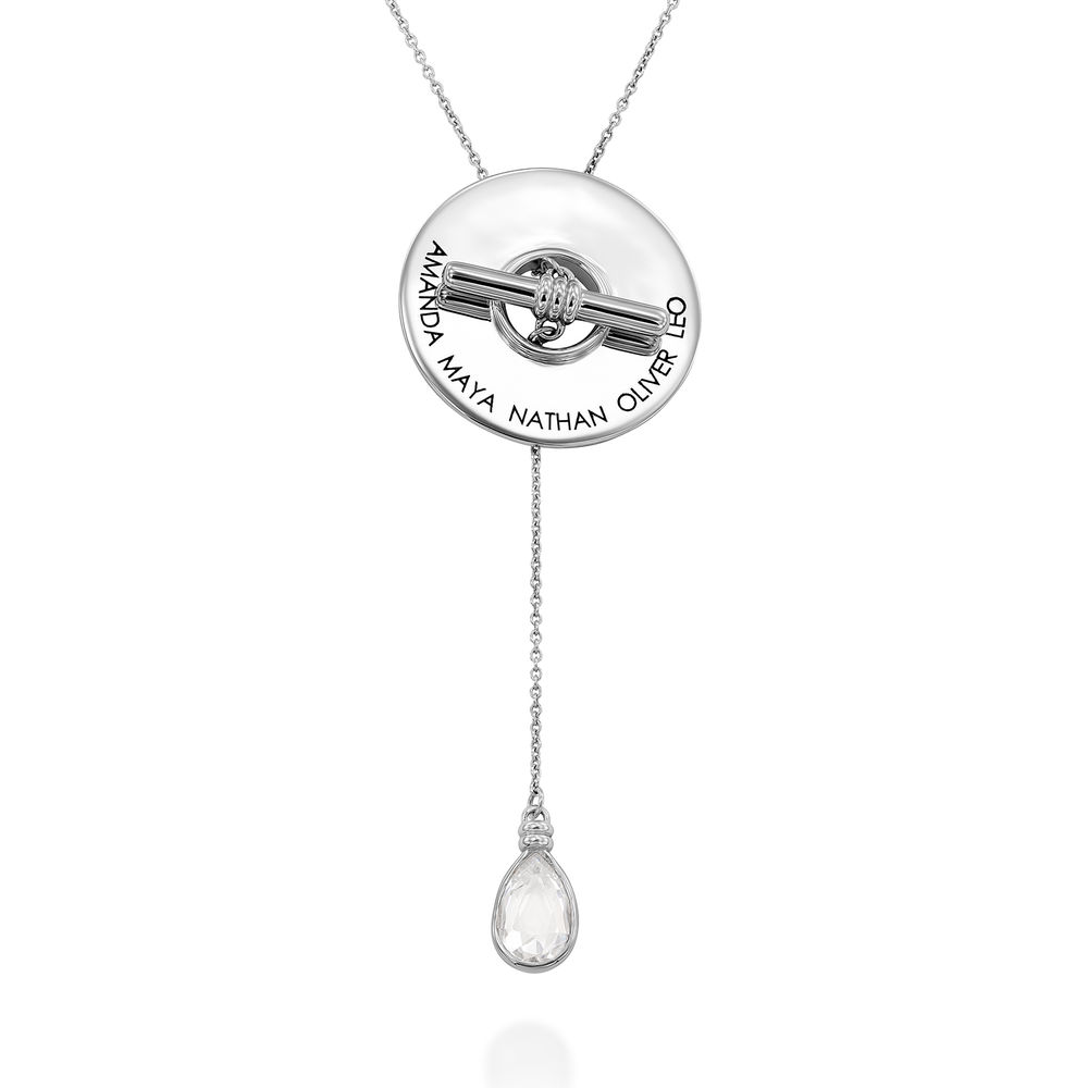 Diana Lariat Engraved Necklace in Sterling Silver
