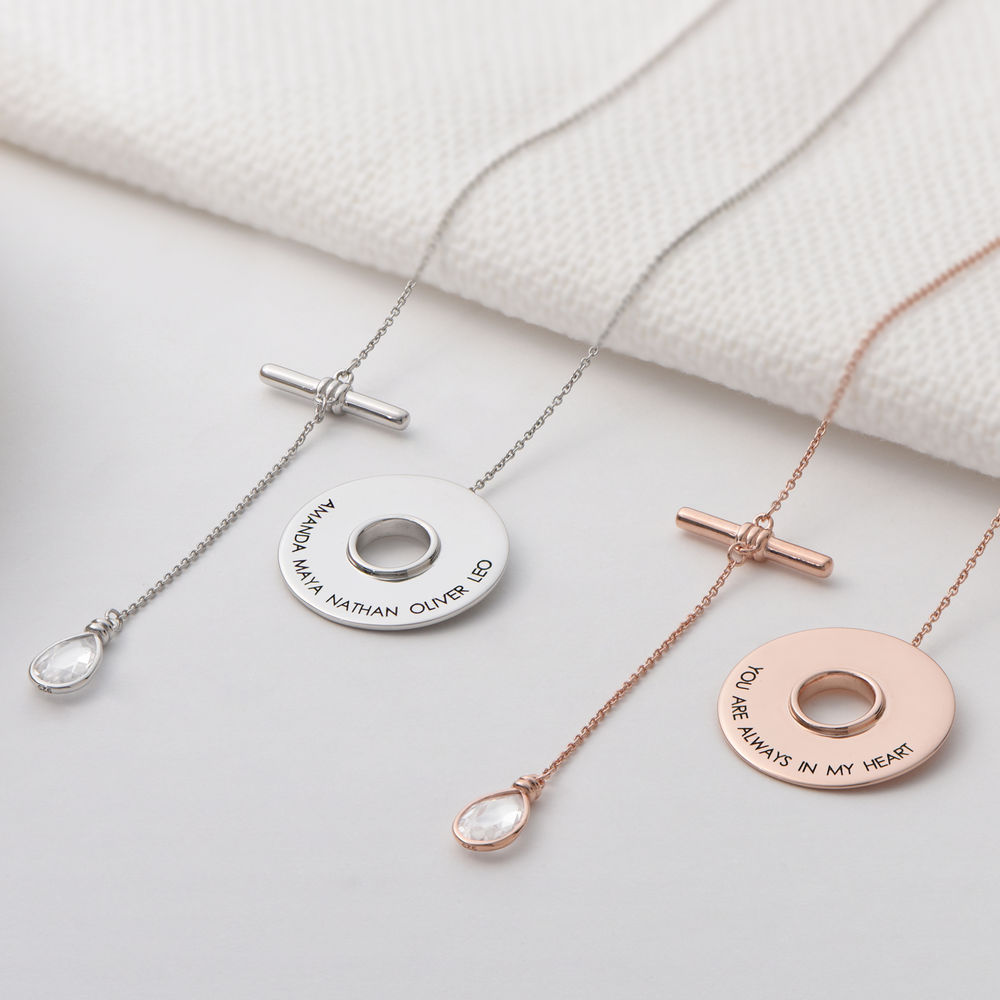Diana Lariat Engraved Necklace in Rose Gold Plating - 1