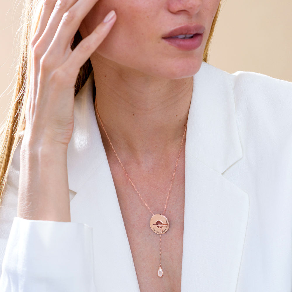 Diana Lariat Engraved Necklace in Rose Gold Plating - 2