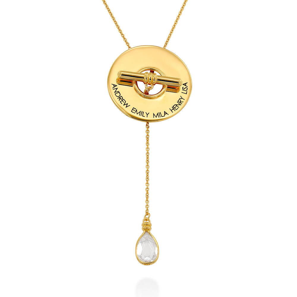 Diana Lariat Engraved Necklace in Gold Vermeil