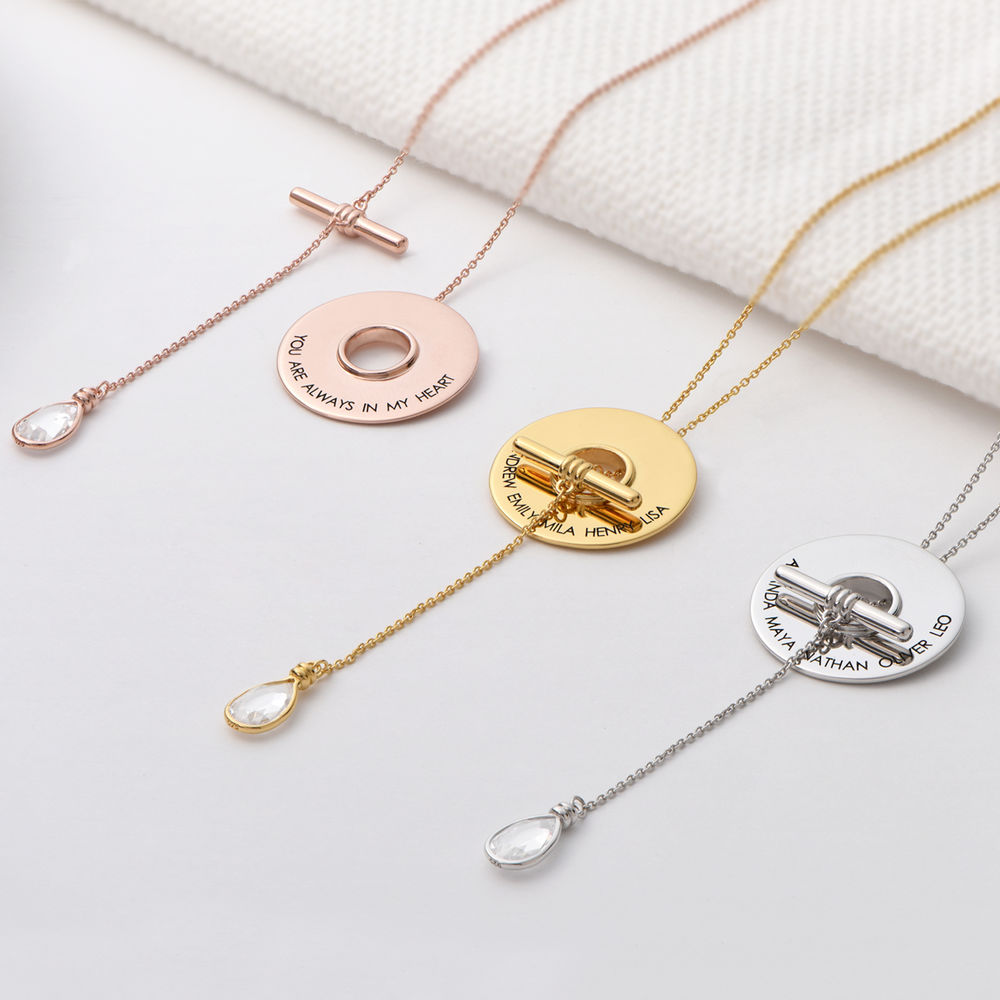 Diana Lariat Engraved Necklace in Gold Vermeil - 1