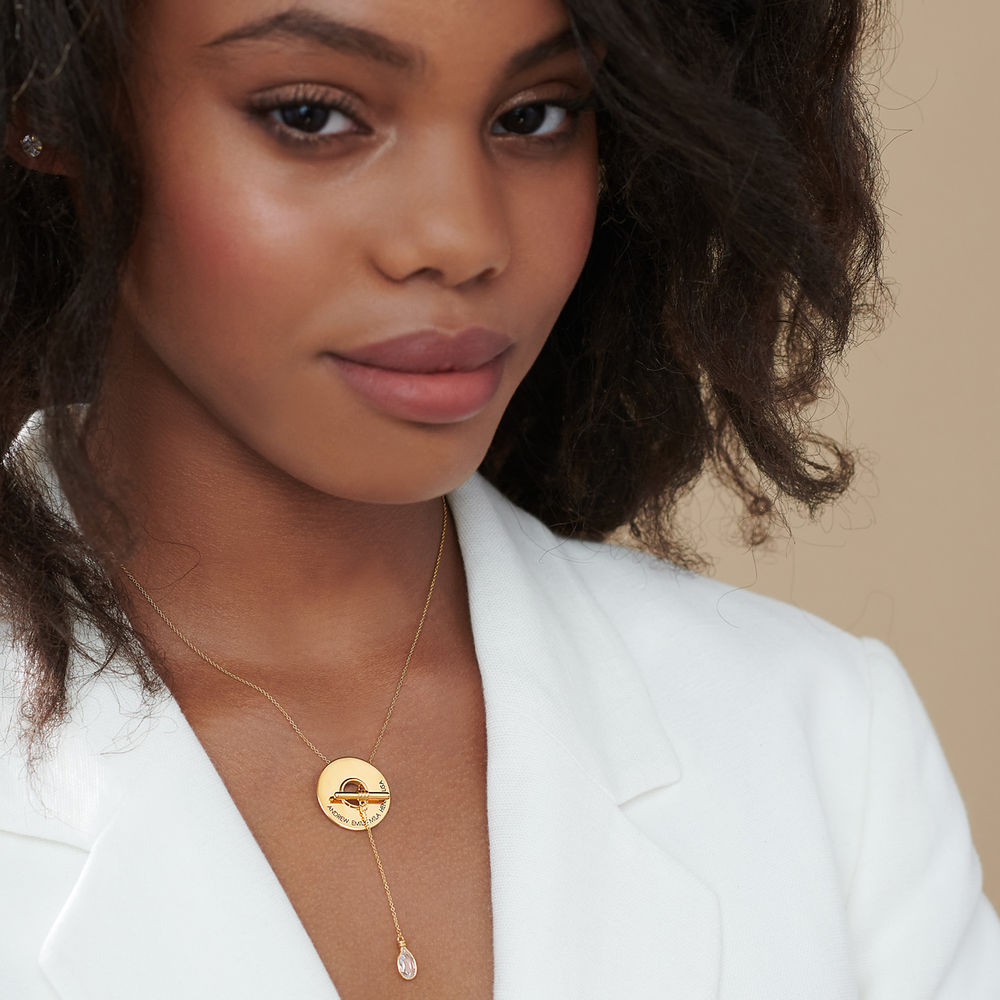 Diana Lariat Engraved Necklace in Gold Vermeil - 2
