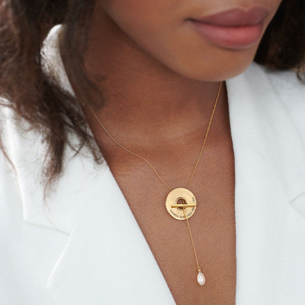 Diana Lariat Engraved Necklace in Gold Vermeil - 3