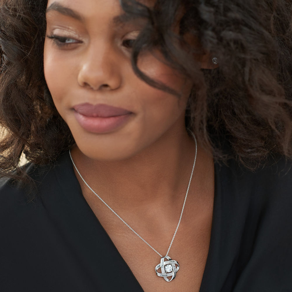 Engraved Eternal Necklace with Cubic Zirconia in Sterling Silver - 2