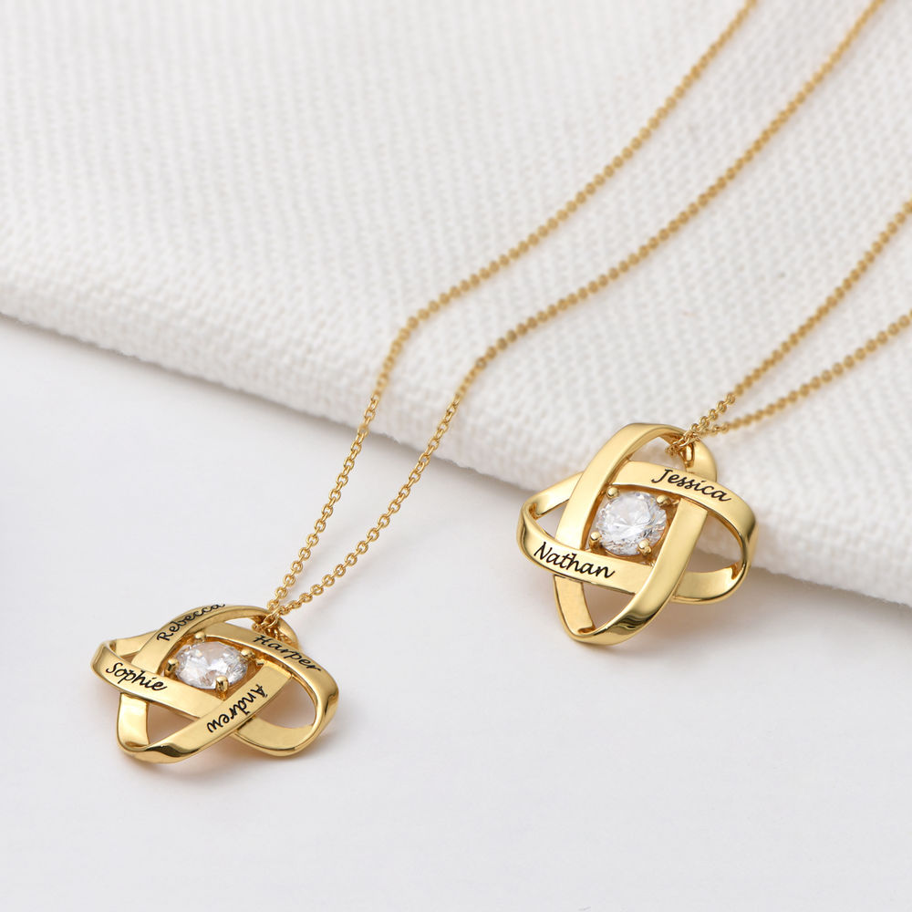Engraved Eternal Necklace with Cubic Zirconia in Gold Plating - 1