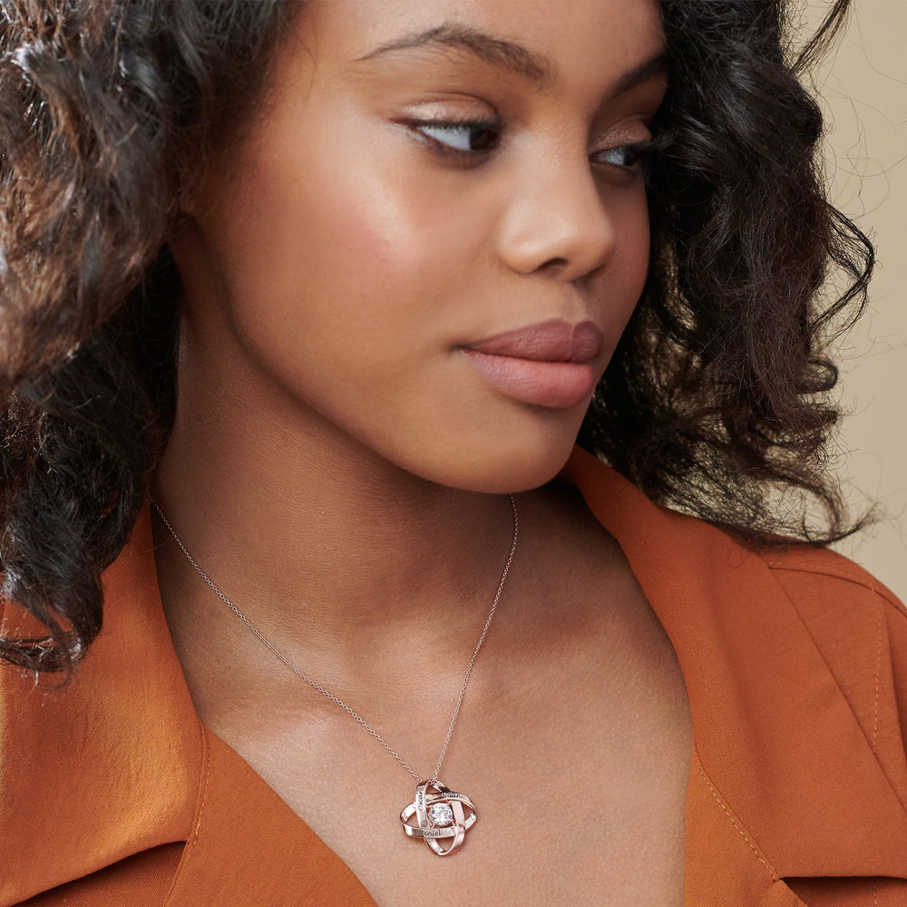 Engraved Eternal Necklace with Cubic Zirconia in Rose Gold Plating - 2