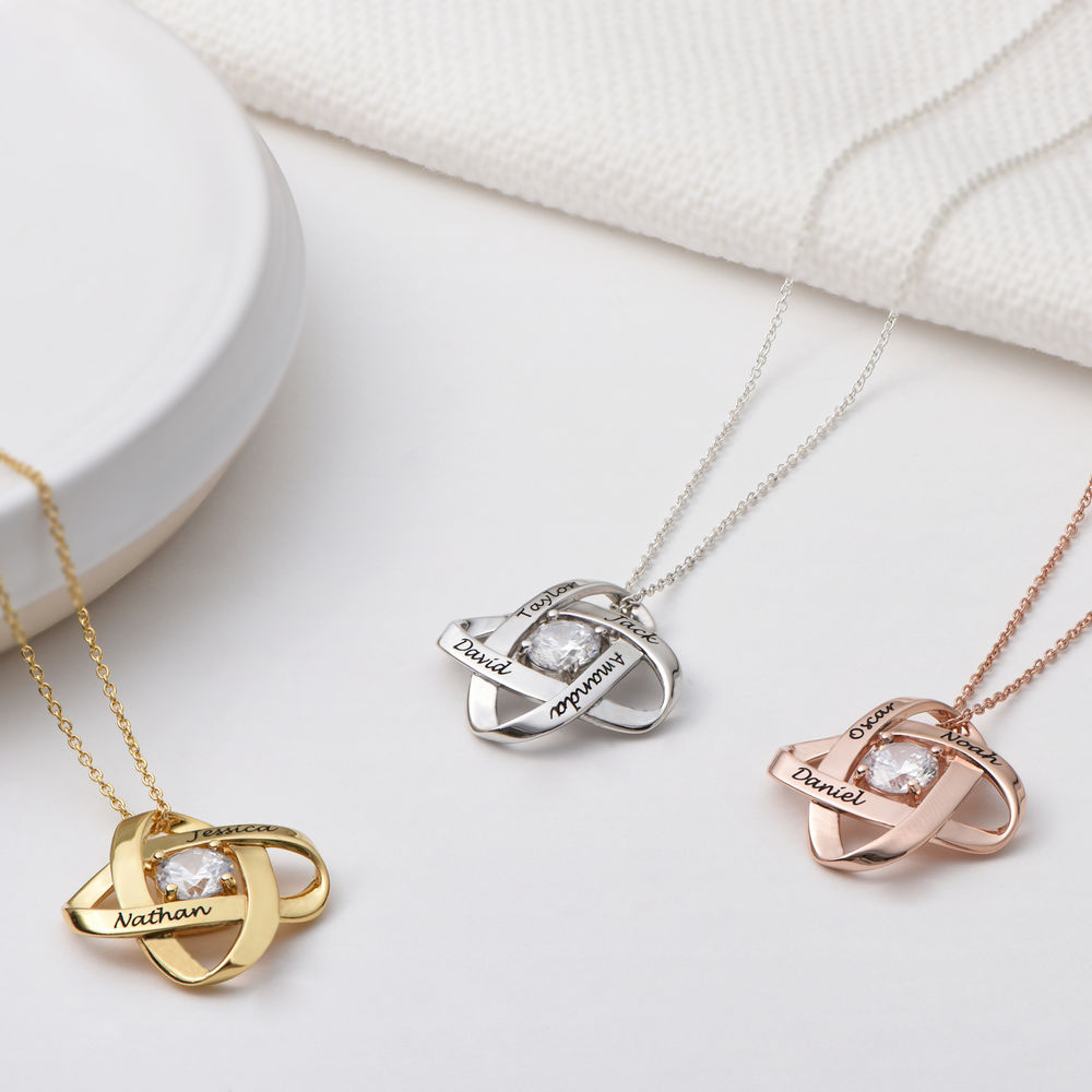 Engraved Eternal Necklace with Cubic Zirconia in Gold Vermeil - 1