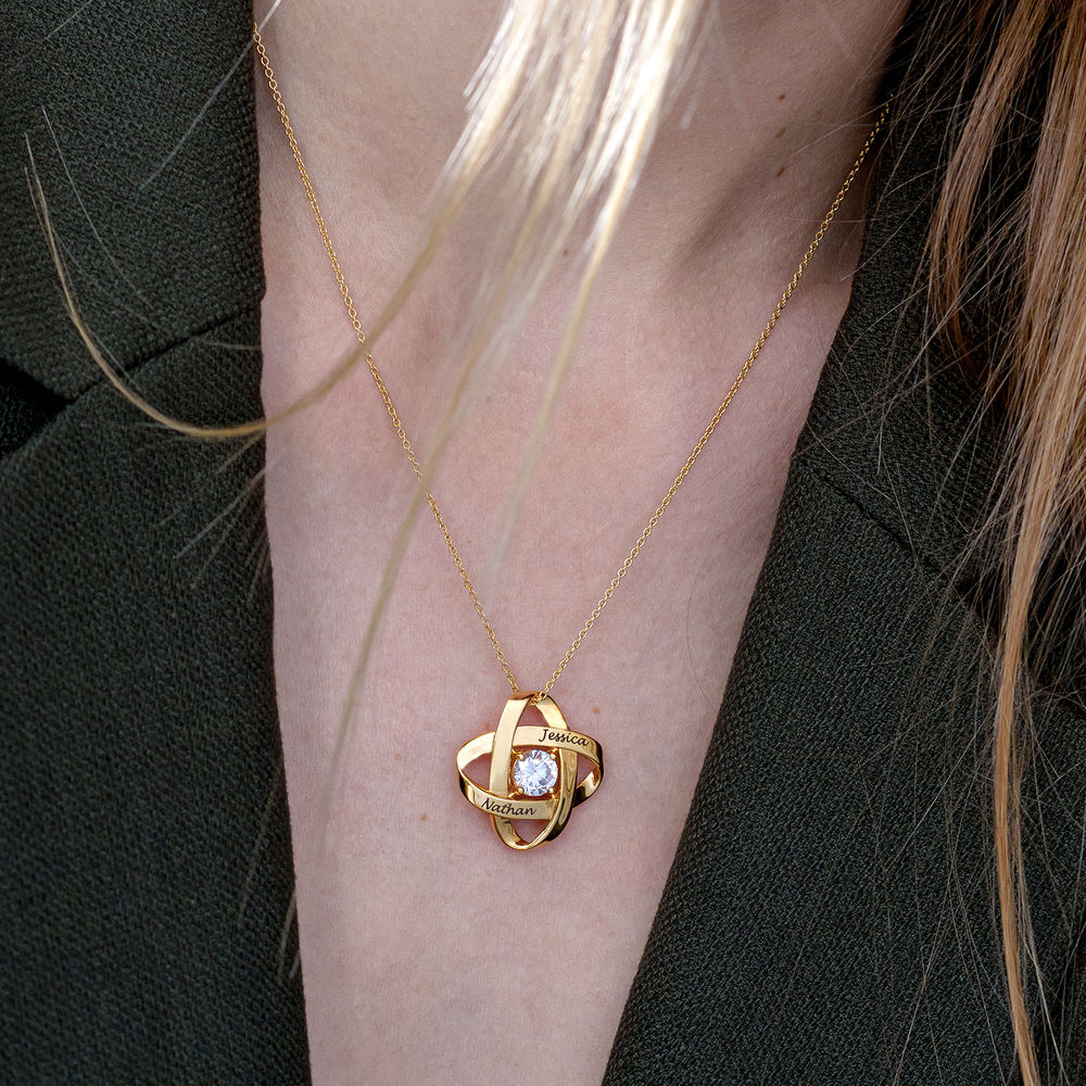 Engraved Eternal Necklace with Cubic Zirconia in Gold Vermeil - 3