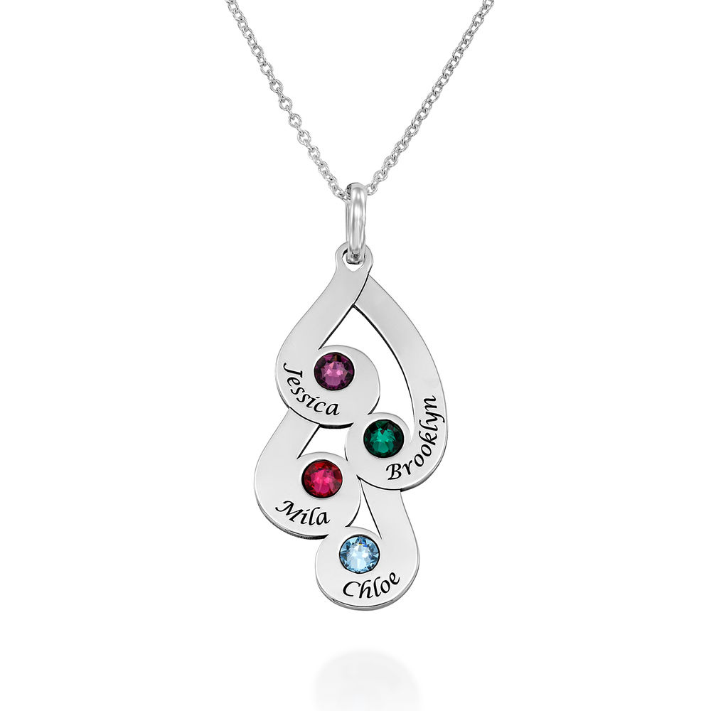 Engraved Family Pendant Necklace with Birthstones in Sterling Silver
