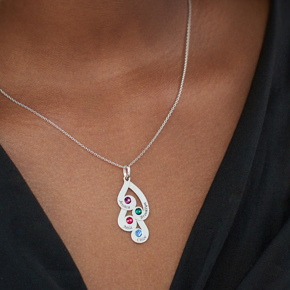 Engraved Family Pendant Necklace with Birthstones in Sterling Silver - 4