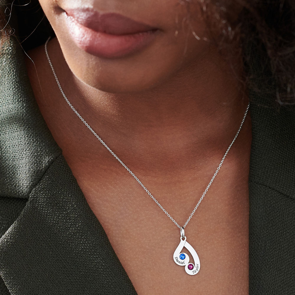 Engraved Family Pendant Necklace with Birthstones in Sterling Silver - 6