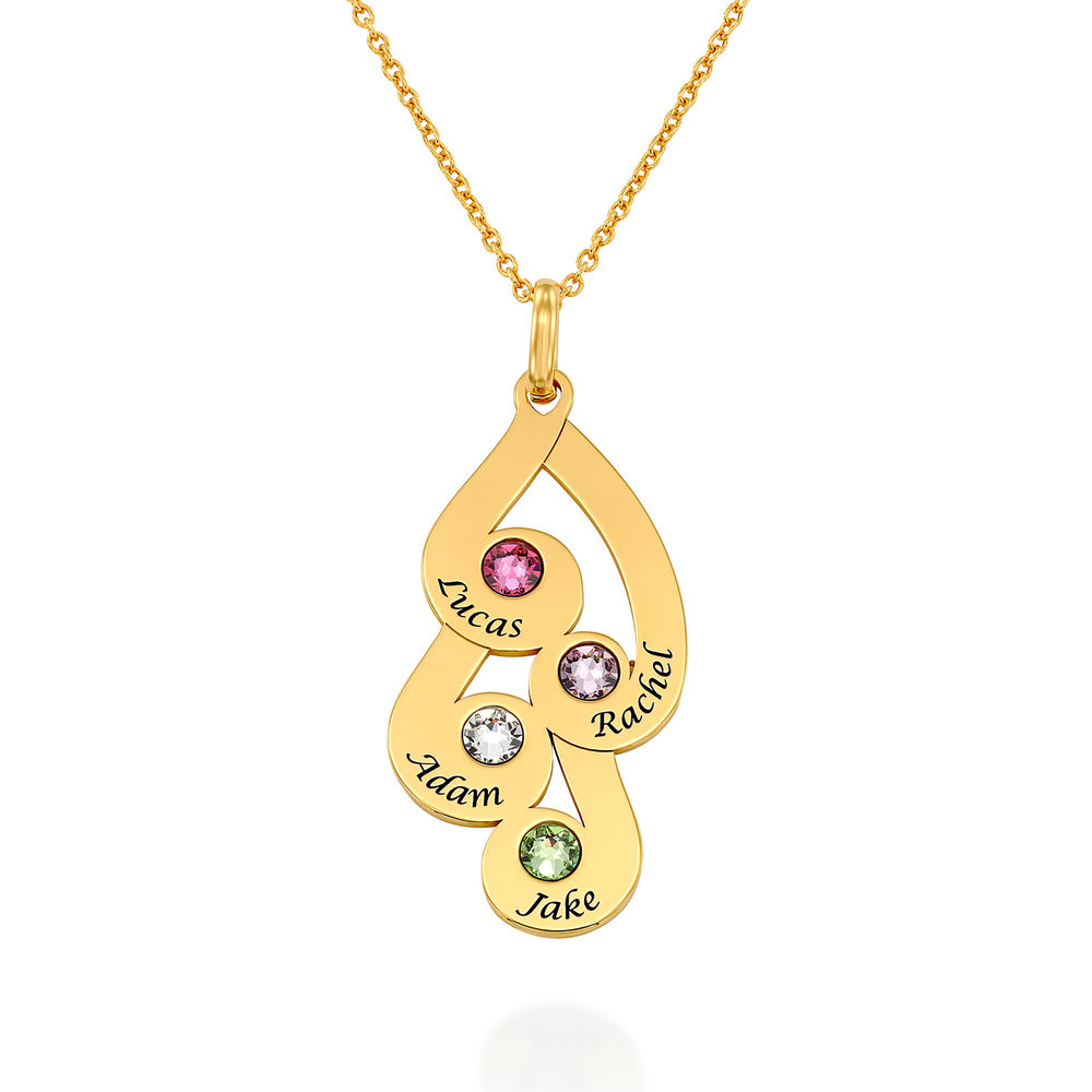 Engraved Family Pendant Necklace with Birthstones in Gold Plating