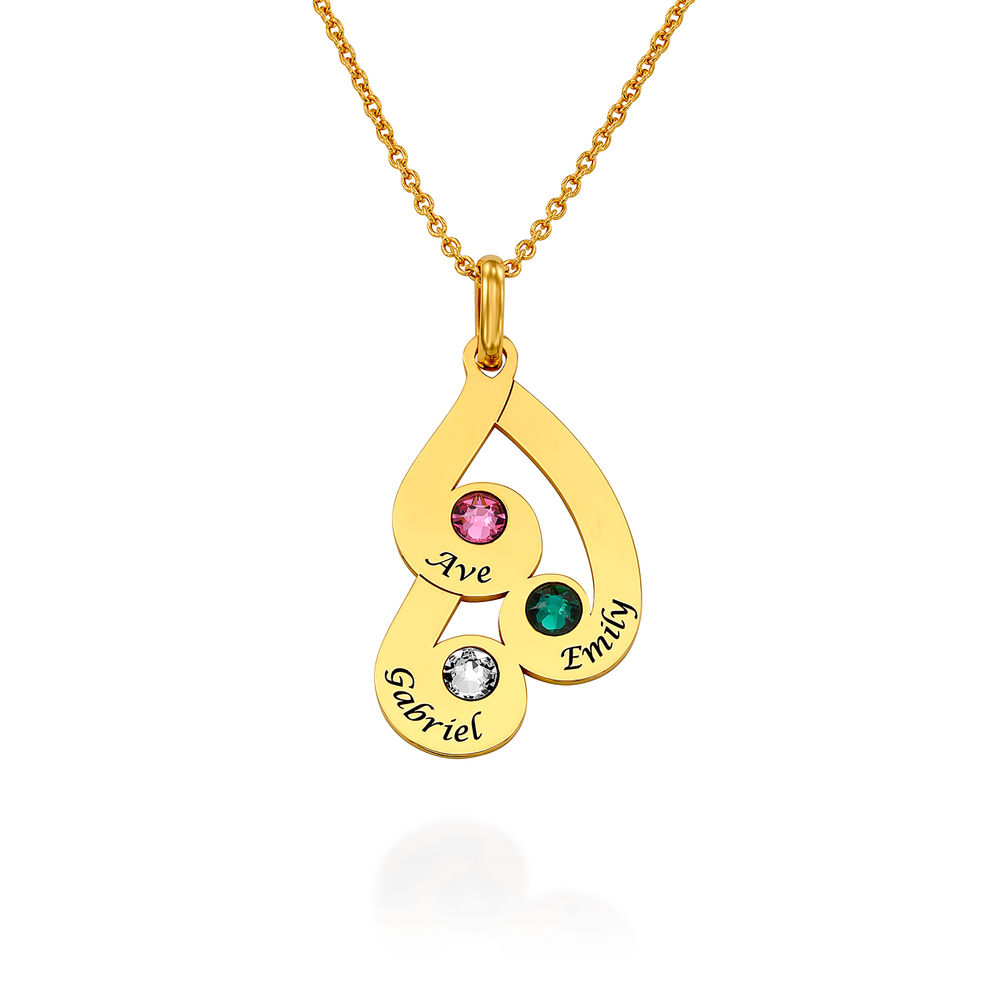 Engraved Family Pendant Necklace with Birthstones in Gold Plating - 1